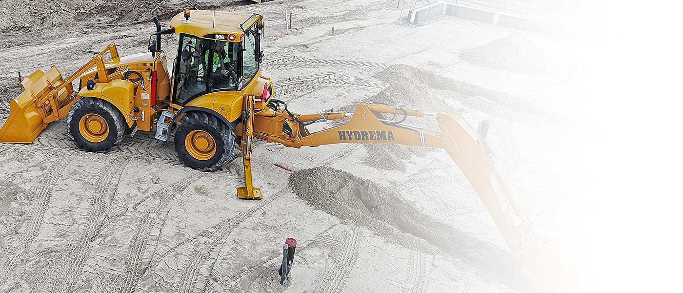 Hydrema 906F backhoe loader a compact all-rounder doing excavating work