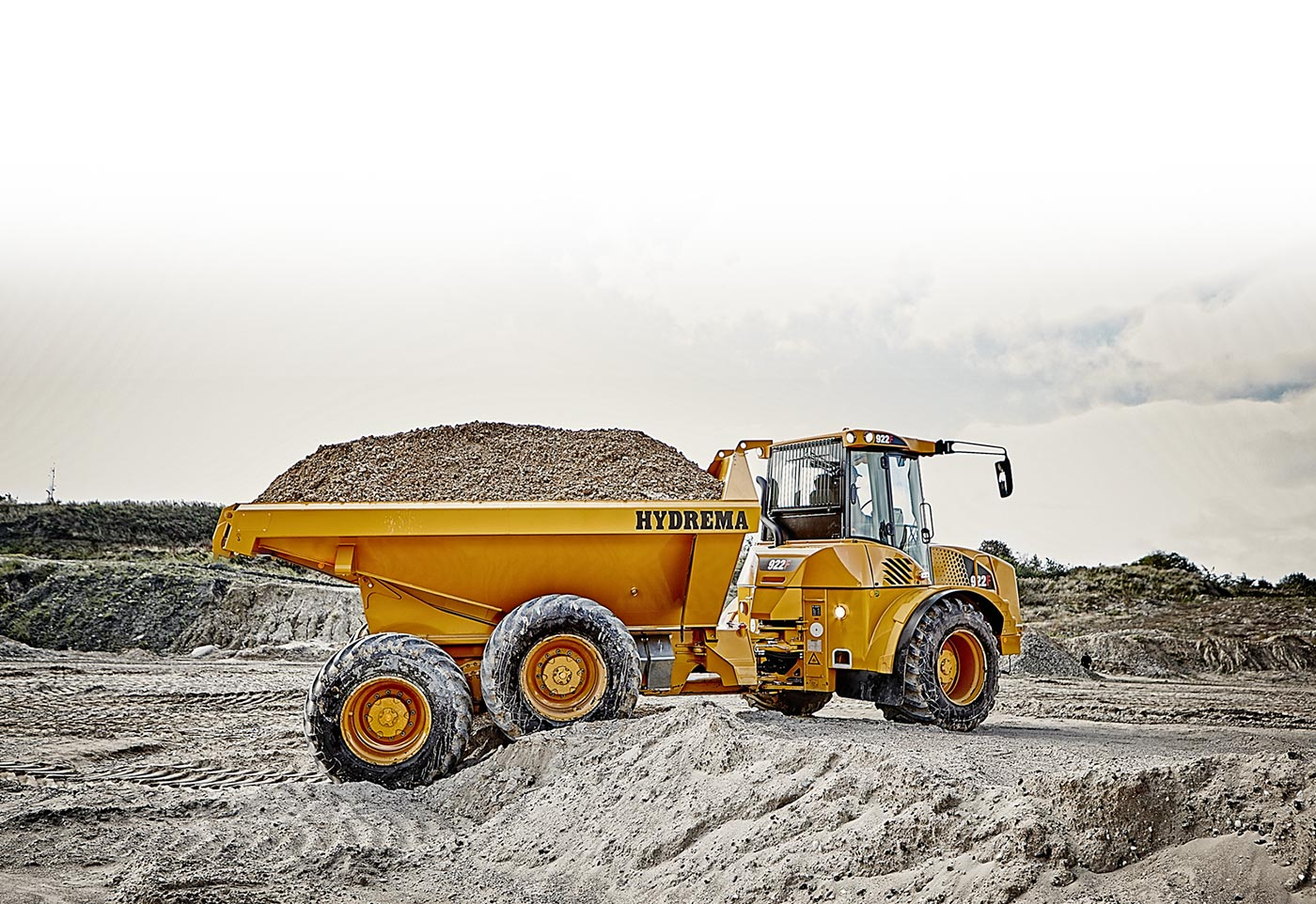 Hydrema 922F-Series dump truck with a full load of gravel