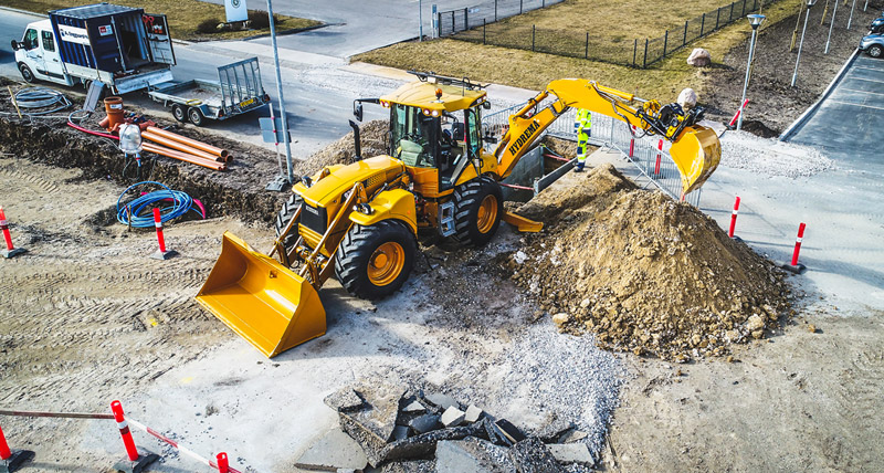 Hydrema aims for the construction sites with the new F-Series Backhoe loaders where one machine easily can handle the same