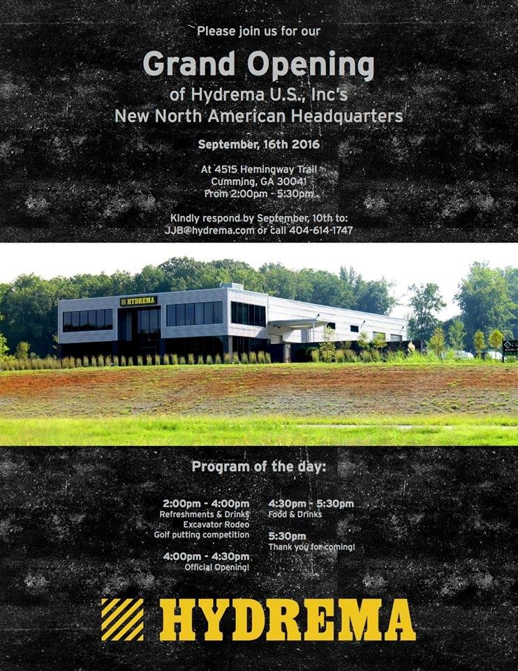 Invitation for the Grand Opening of the New Hydrema US Headquarters